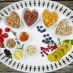 Tablett voller vegetarischer Produkte, wie Früchte, Nüsse, Müsli und Honig