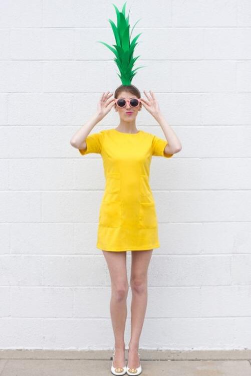 DIY-Kostüm Ananas für Fasching, Karneval oder Halloween