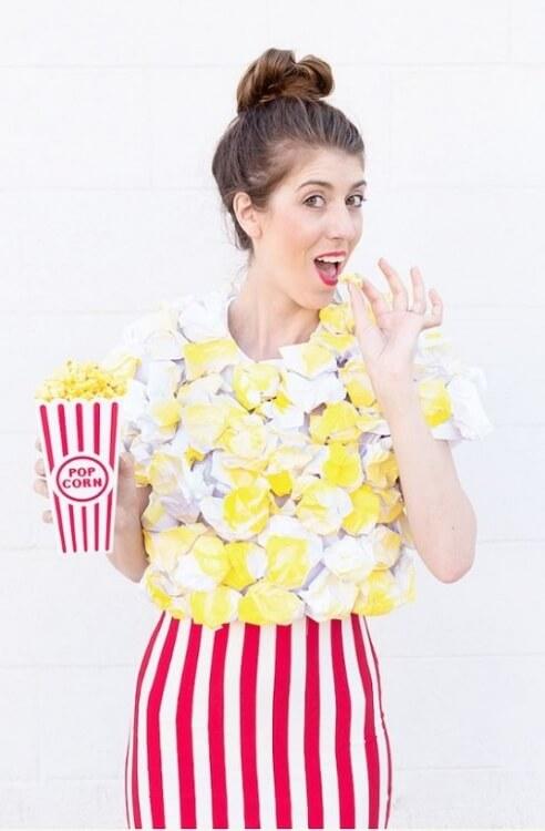 DIY-Kostüm Popcorn für Halloween, Karneval oder Fasching