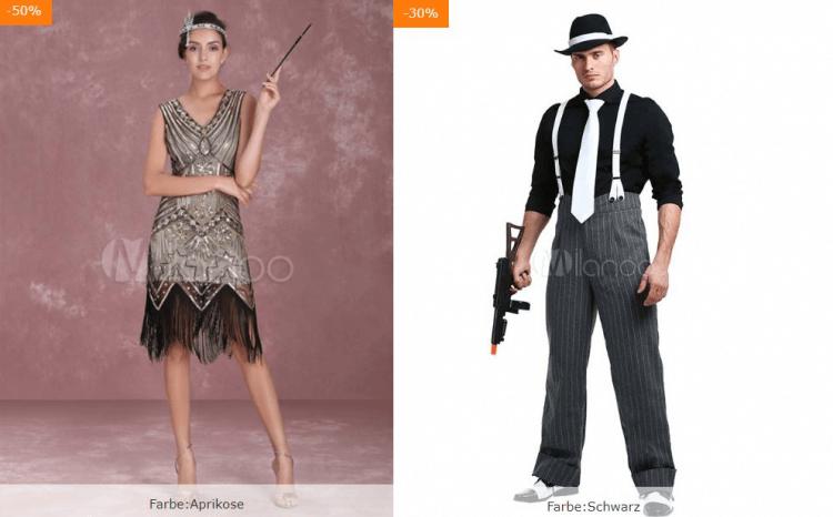 20er-Jahre-Kostüme für elegante Frau mit Pailettenkleid, Kopfschmuck und Zigarettenspitze und Männerkostüm mit Hut, Anzug und Waffe
