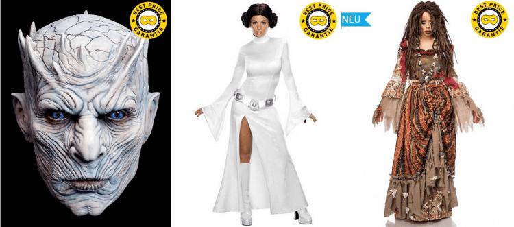 Maske des Nachtkönigs aus der TV-Serie Game of Thrones, Kostüm für Prinzessin Leia aus Star Wars und Kostüm für Meeresgötting Calypso aus Fluch der Karibik