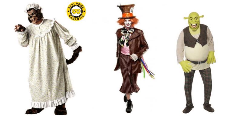 Männerkostüme mit Märchenbezug für den Bösen Wolf aus Rotkäppchen, den verrückten Hutmacher aus Alice im Wunderland und den Oger Shrek.