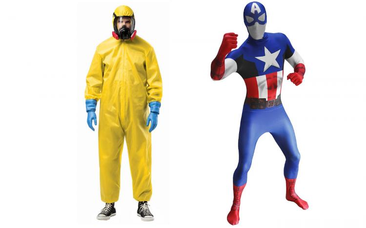 Faschingskostüme von Walter White oder Jesse Pinkman aus der Serie Breaking Bad und dem Film El Camino, sowie ein Ganzkörperkostüm von Captain America aus den Marvels Avengers