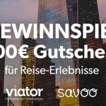 Gewinne beim Oster Gewinnspiel von Savoo einen Viator Gutschein im Wert von 100 Euro für Reise-Erlebnisse.