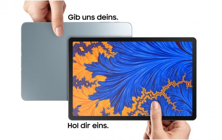 Samsung-Anzeige zum Trade-In-Service, beim dem gebrauchte Galaxy-Tablets und Smartphones gegen ein Neues eingetauscht werden können