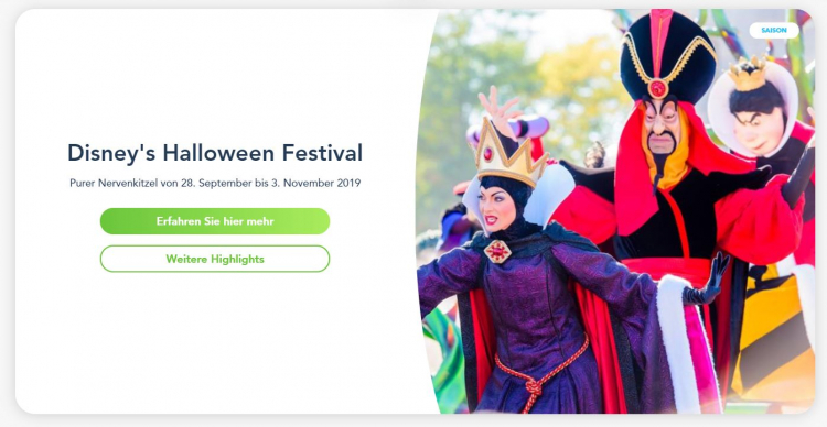 Disneyland Paris Angebot für das Halloween Festival