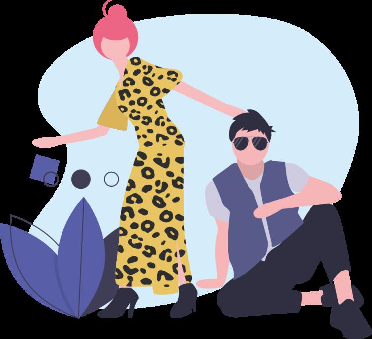 Frau in Kleid mit Leopardenmuster und Mann mit Sonnenbrille, die den Mode-Trends für 2020 entsprechen
