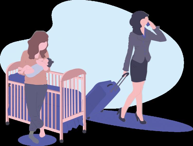 Sketch einer Karrierefrau und einer Mutter mit ihrem Baby zum Internationalen Frauentag