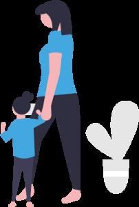Illustration einer Tochter, die ihrer Mutter ein günstiges Geschenk zum Muttertag 2020 zeigt
