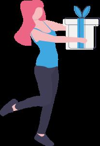 Illustration einer Frau, die zum Muttertag 2020 ein Geschenk im Wert von 25 bis 50 Euro erhält