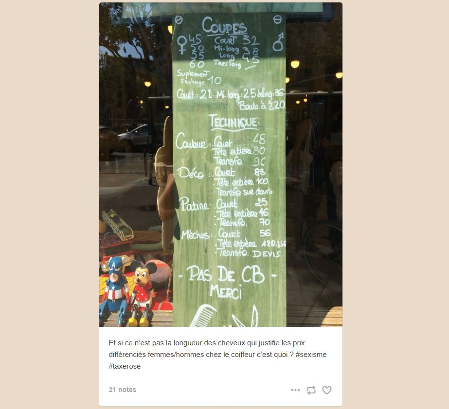 Capture d'écran du Tumble Woman Tax - tarifs coiffures hommes et femmes - Taxe Rose