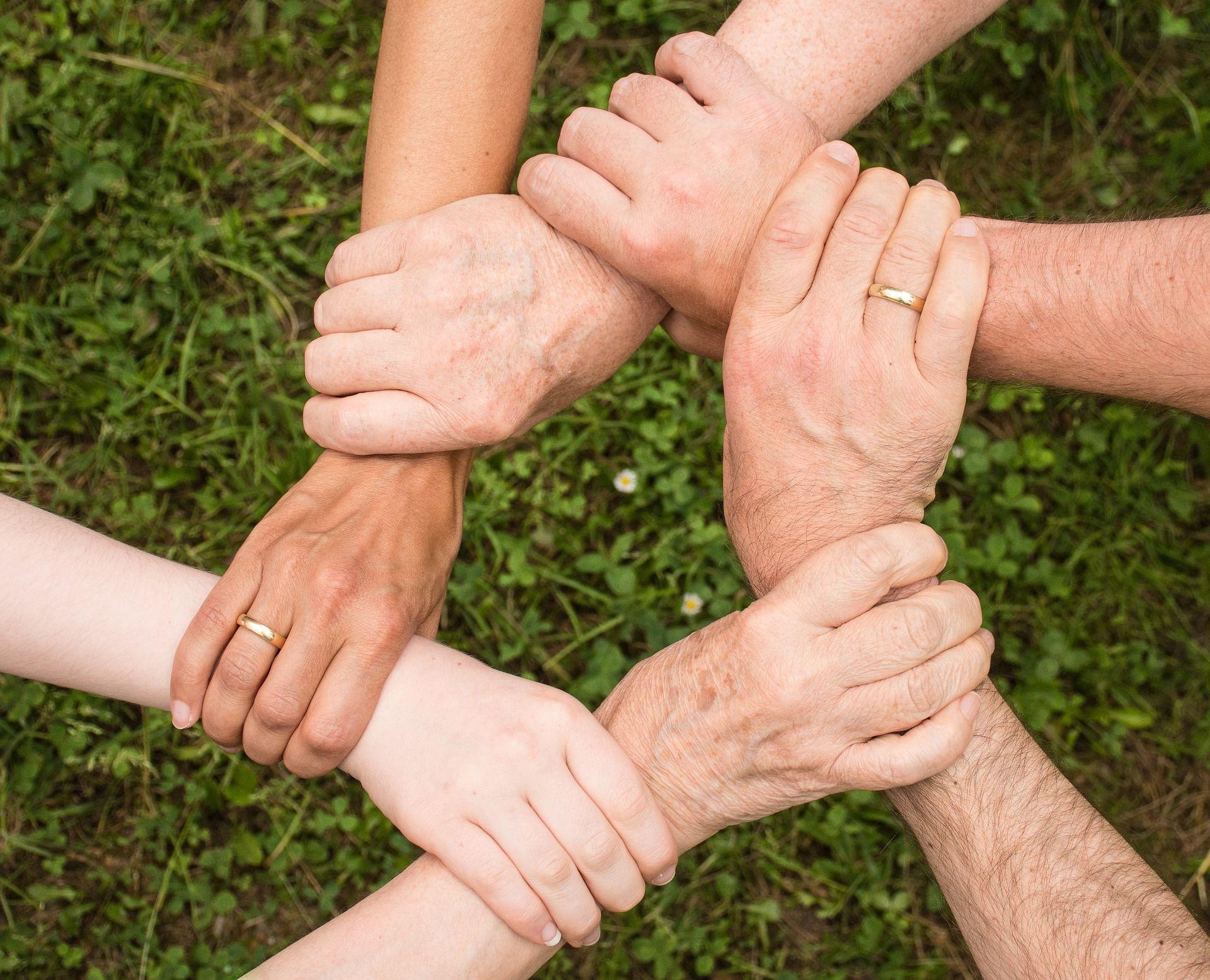 Six mains qui se tiennent au dessus d'une pelouse