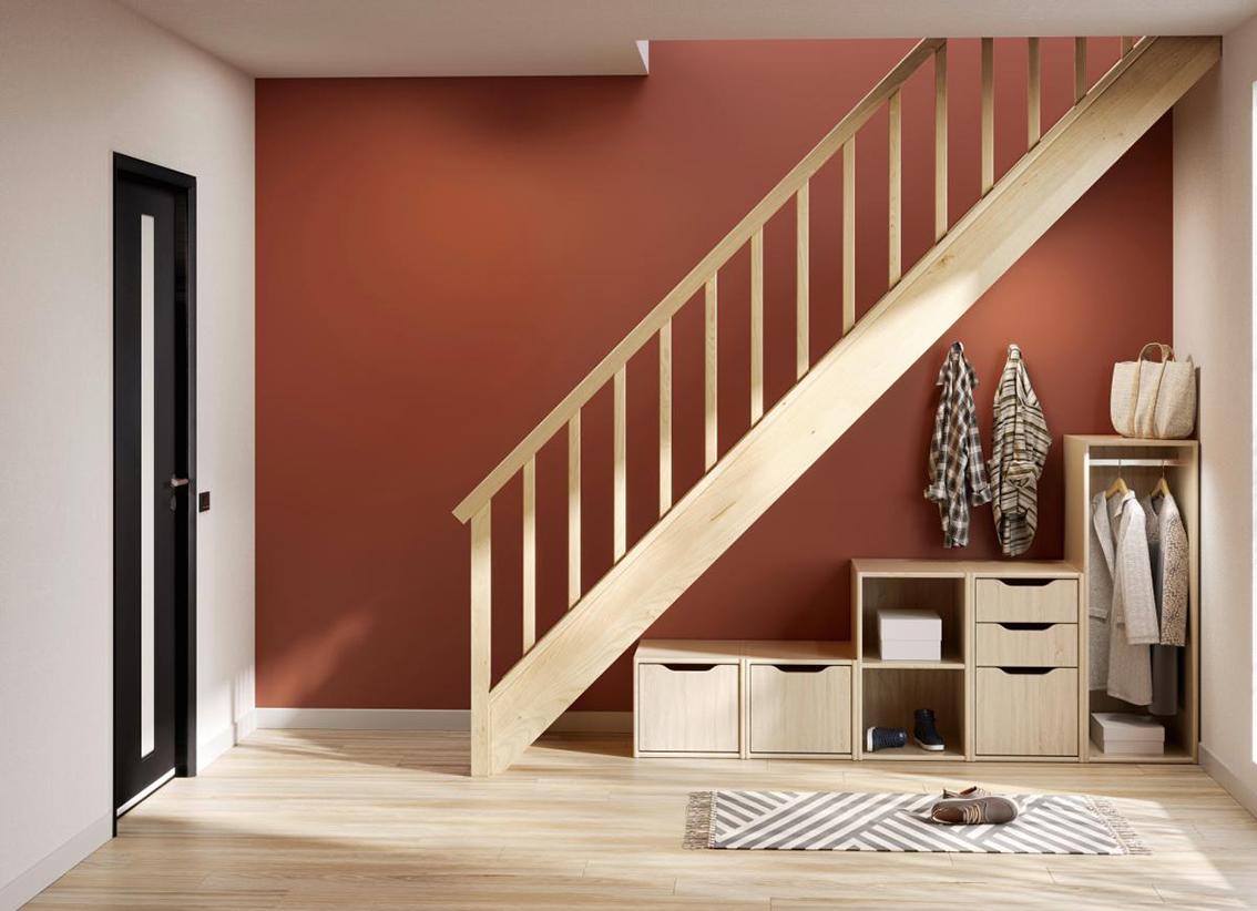 Rangements sous escaliers Lapeyre marron sur fond orange