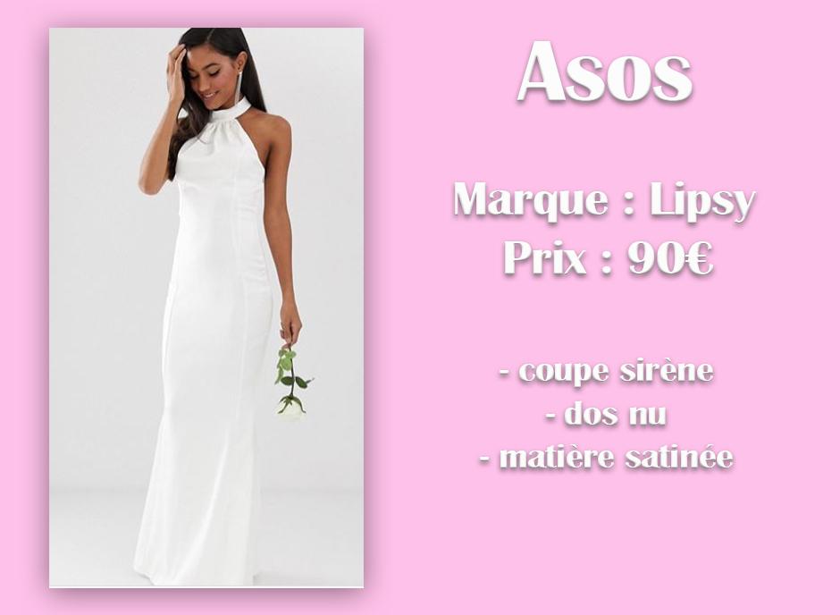 Robe de mariée longue Asos avec descriptif
