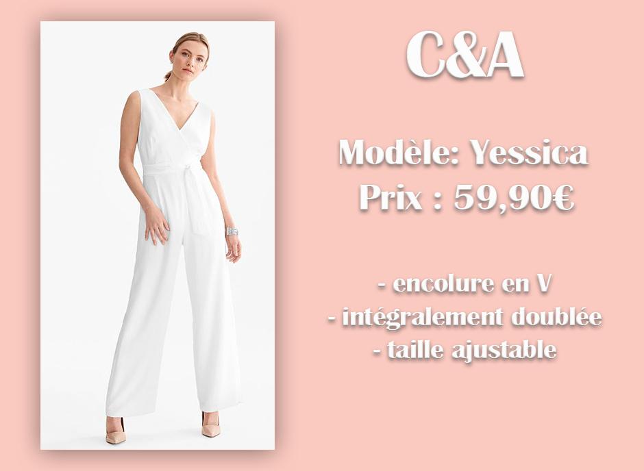 Combinaison pantalon blanche Yessica C&A avec descriptif sur fond rose
