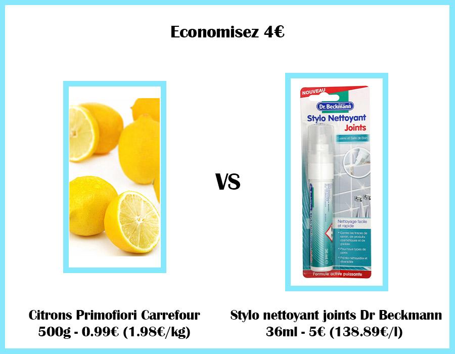 Comparatif de prix entre des citrons et un stylo nettoyant Dr Beckmann pour produits nettoyants maison