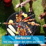 Mains qui mettent des brochettes sur un barbecue avec titre sur fond bleu