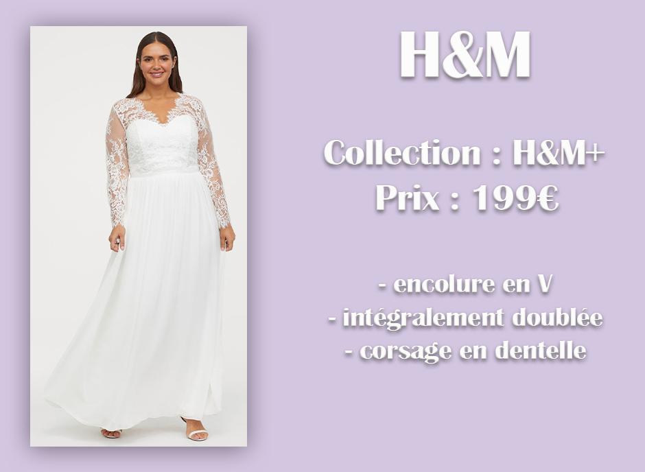 Robe de mariée en dentelle H&M+ avec descriptif sur fond violet