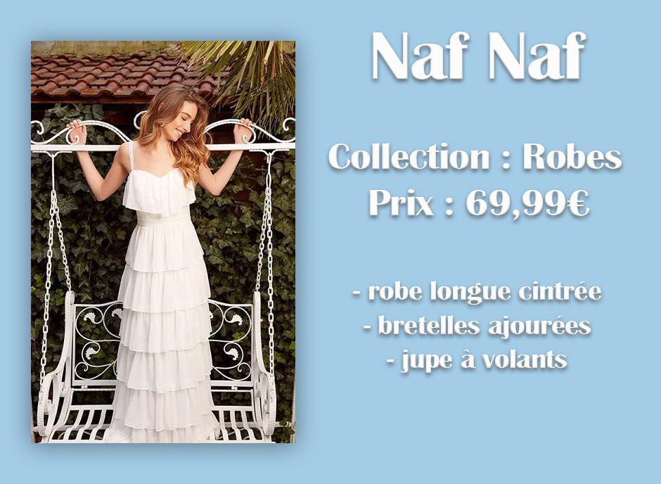 Robe blanche Naf Naf à volants avec descriptif