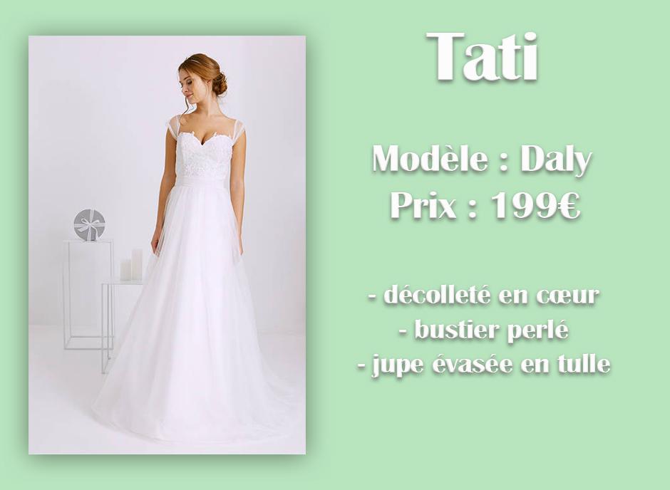 Robe de mariée Daly en dentelle Tati avec descriptif sur font vert