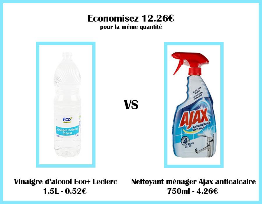 Comparatif de prix vinaigre blanc et nettoyant Ajax pour produits ménagers maison