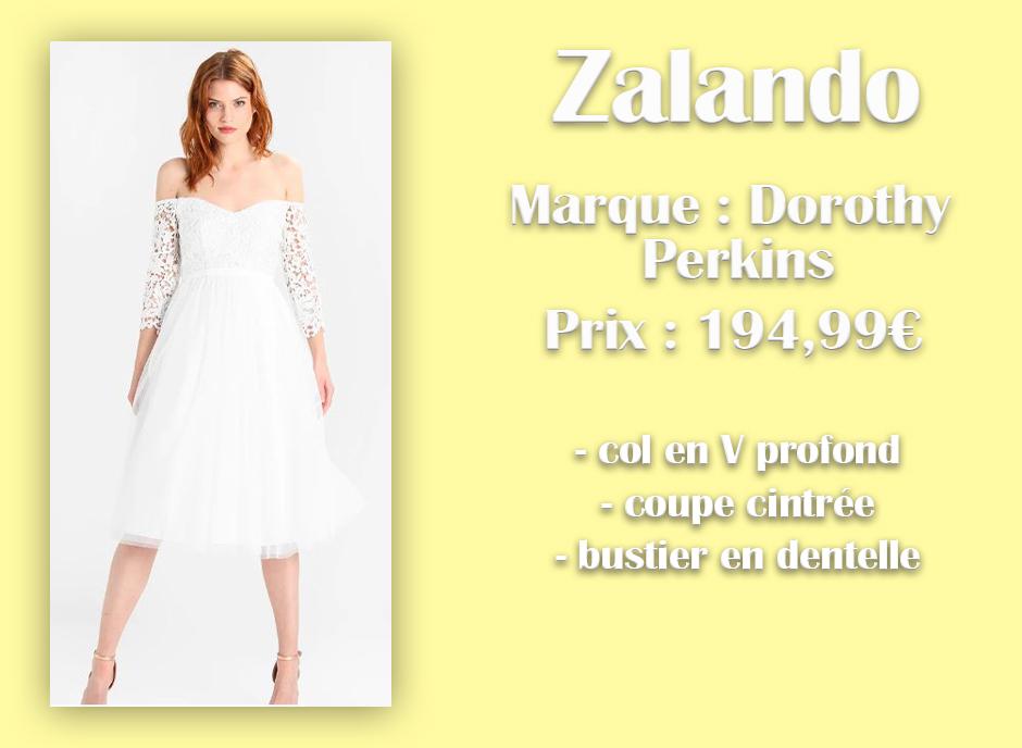 Robe de mariée Dorothy Perkins chez Zalando avec descriptif sur fond jaune