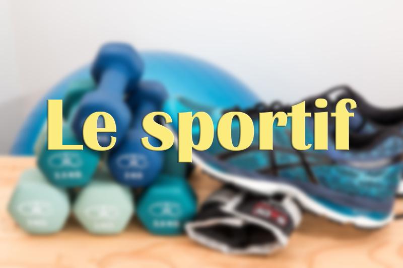 """Altères, balle et baskets de sport bleues avec titre """"Le sportif"""""""