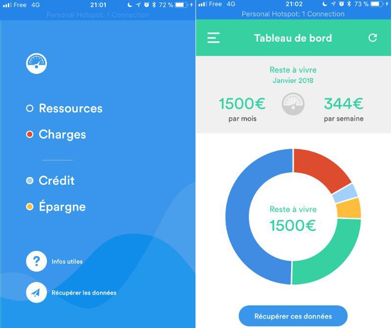 Captures d'écran de l'application de budget Pilote Budget