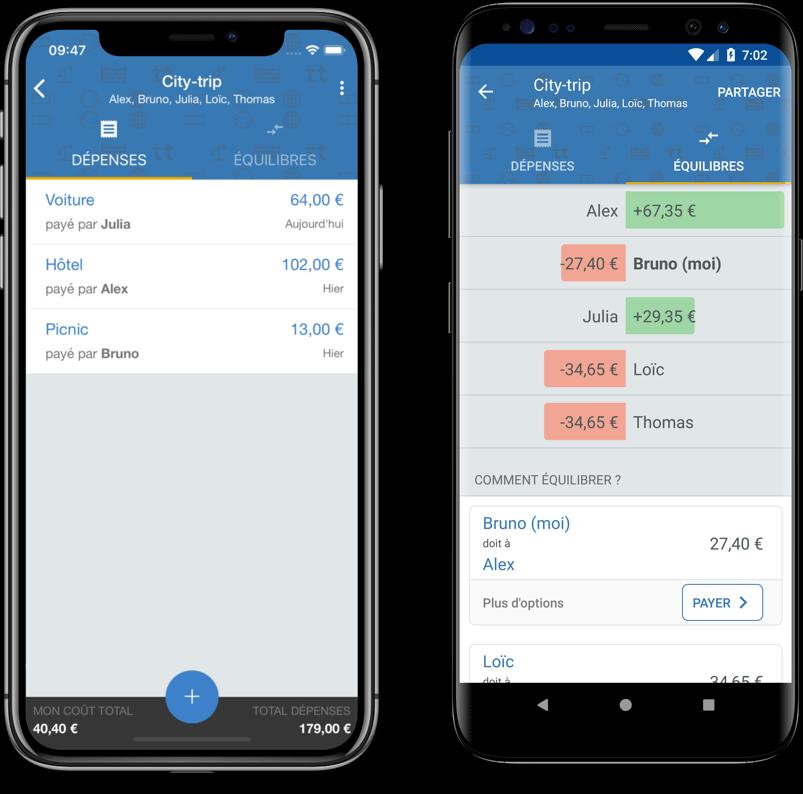 Deux smartphones avec l'application de gestion de budget Tricount