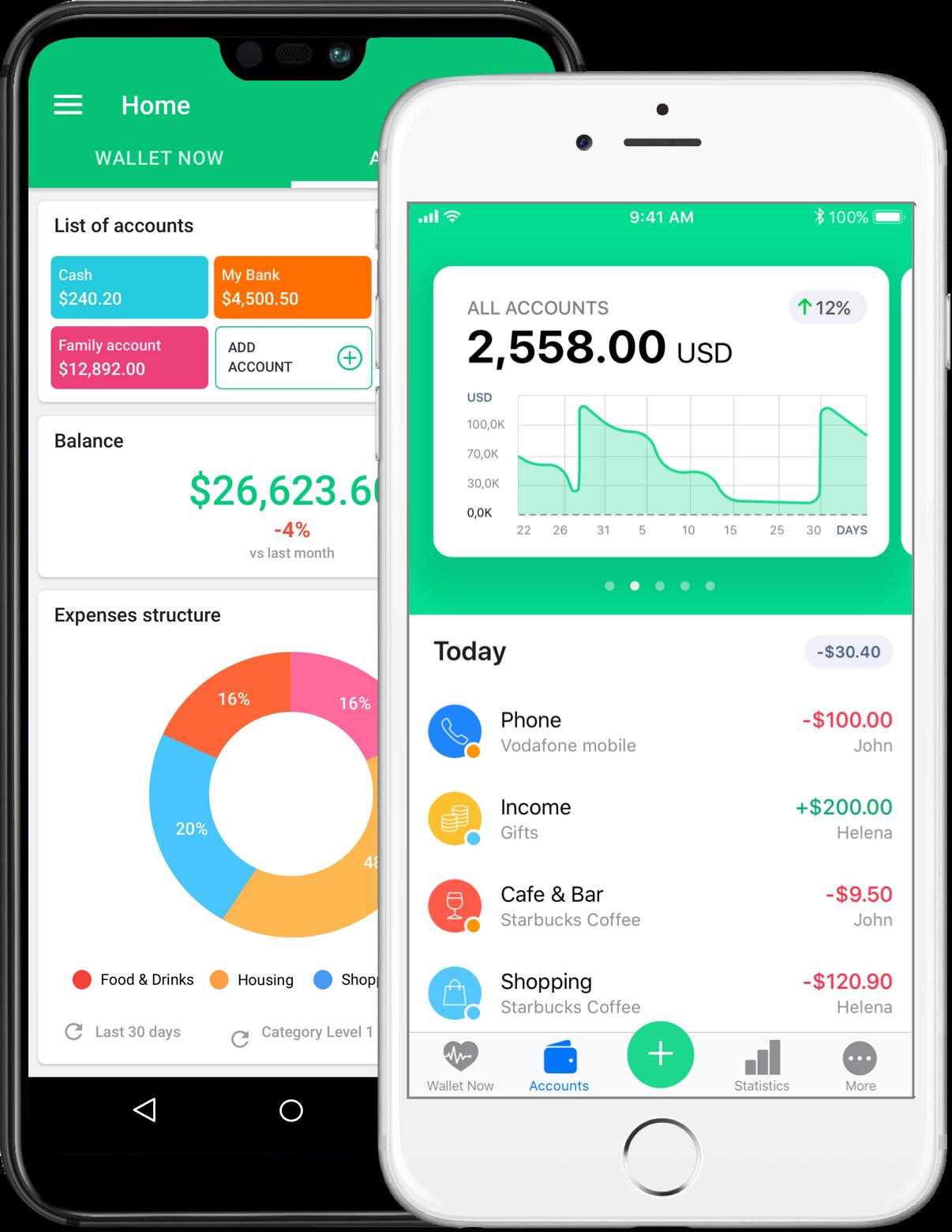 Deux smartphones avec l'application Wallet ouverte