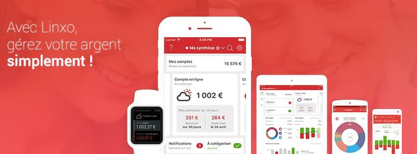 Exemples de l'application de gestion de budget Linxo sur fond rouge