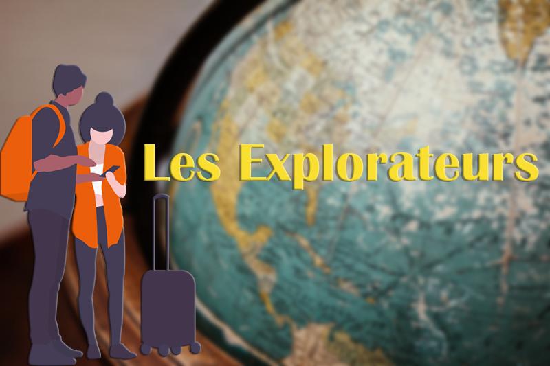 Globe terrestre avec couple, valise et titre Les Explorateurs