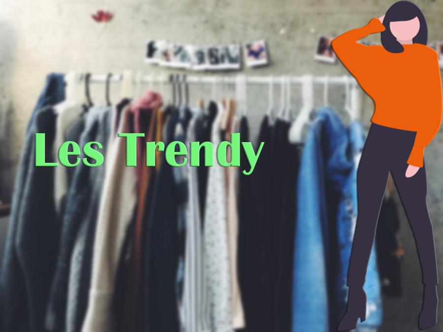 Pendries de vêtements colorés avec titre vert Les Trendy