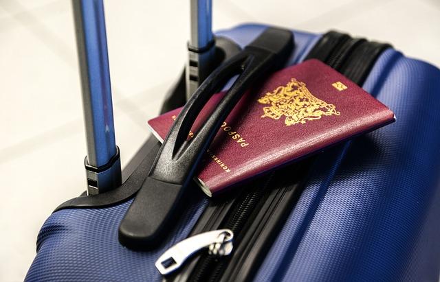 PAsseport rouge sur valise bleue