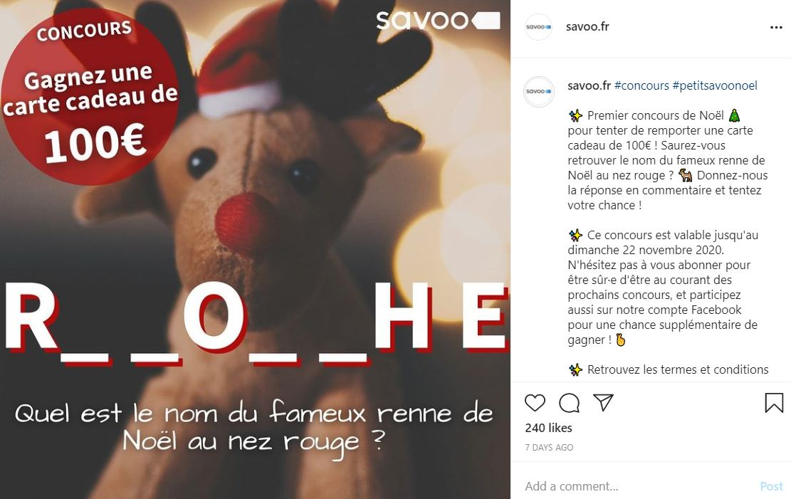 Compétition Instagram Savoo