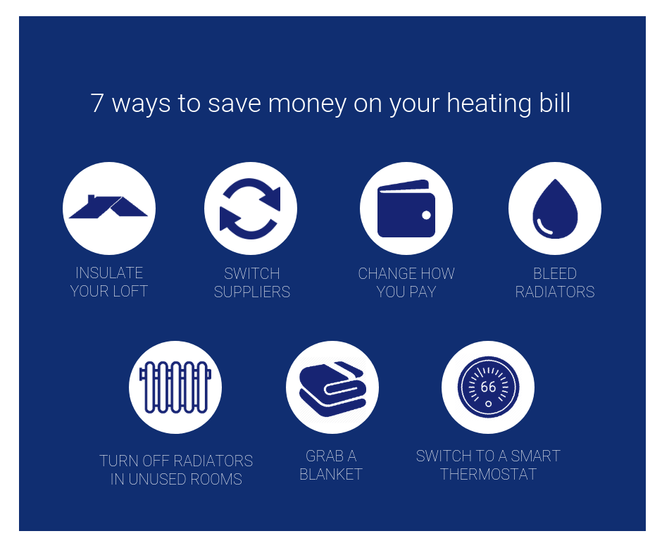 7 ways to save money on your heating bill infographic