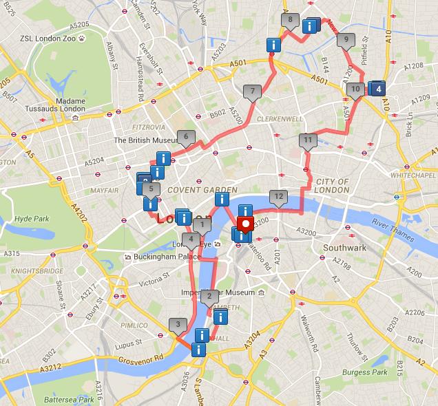 Map of London walk