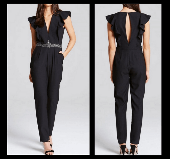 Little Mistress Black Plunge Ruffle Jumpsuit
