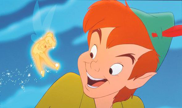 Peter Pan and tinkerbell laughing disney film screenshot