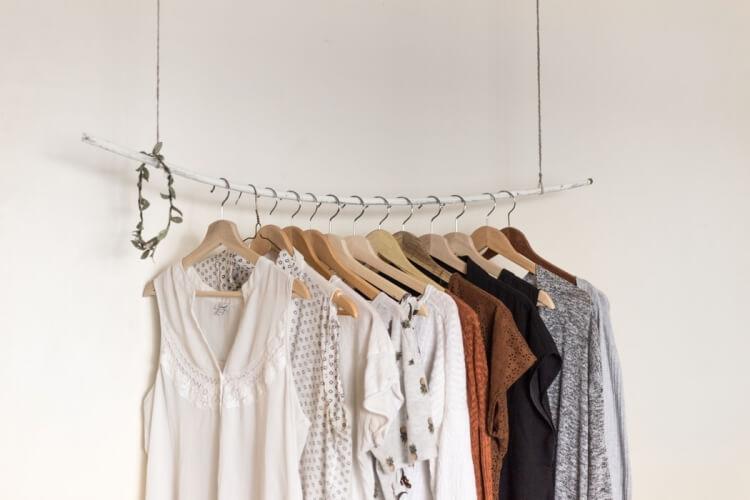 organised rack of clothing