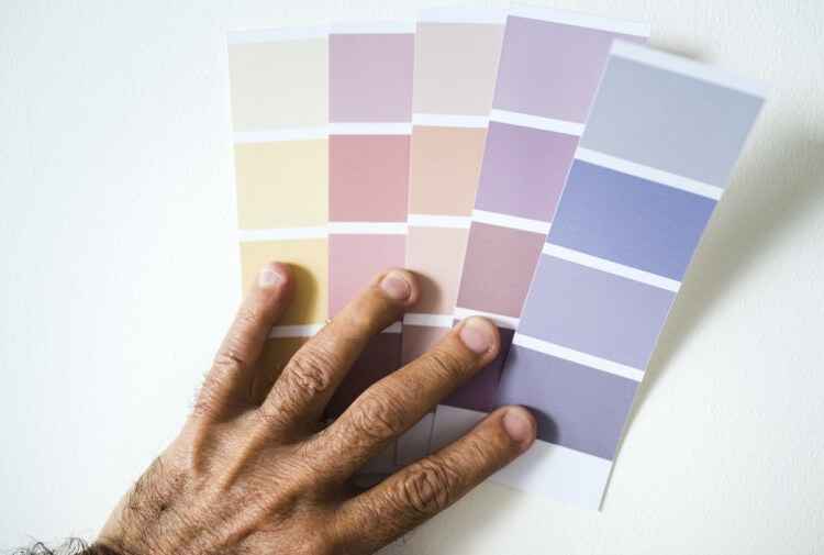 Hand holding paint swatches