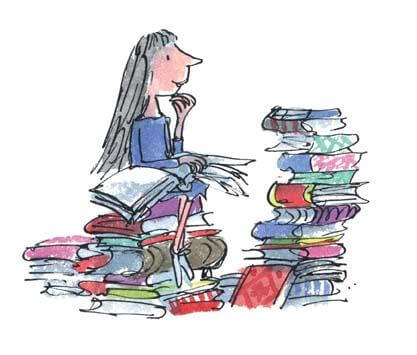 Illustration of Matilda with pile of books by Quentin Blake