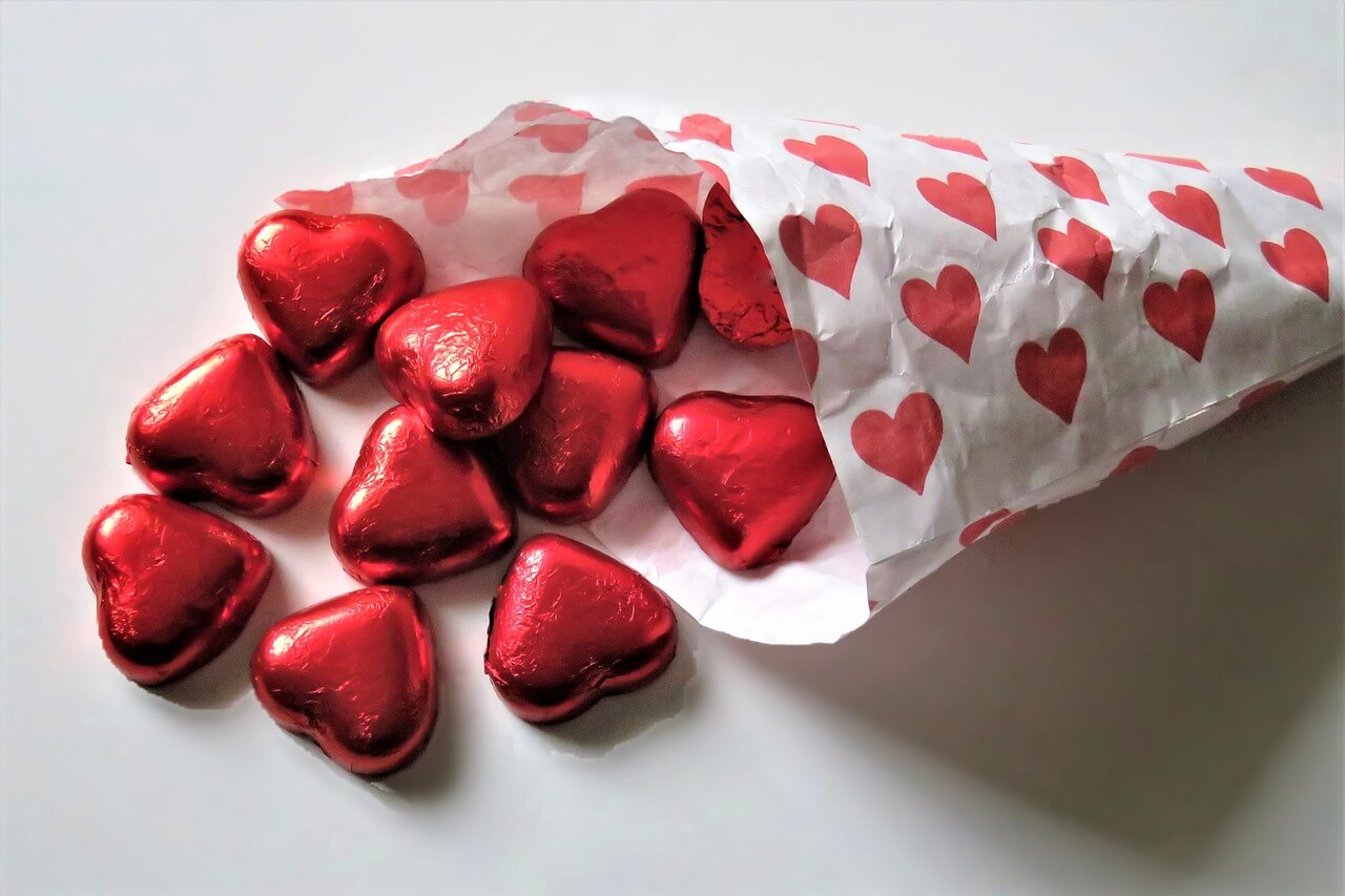 Valentine's heart shaped chocolates