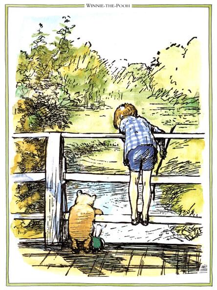 Winnie the pooh christopher robin pooh sticks illustration