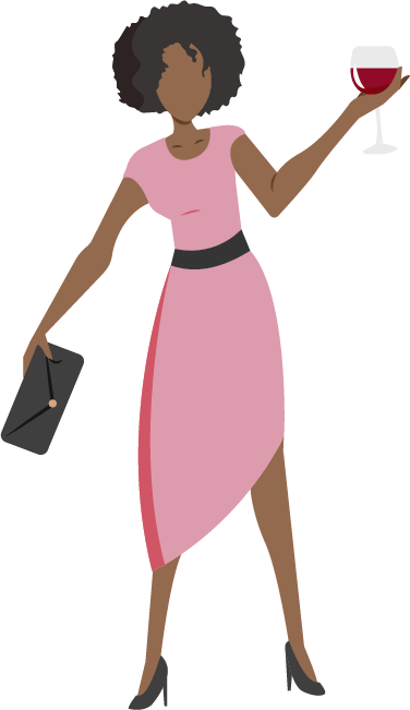 woman holding wine graphic