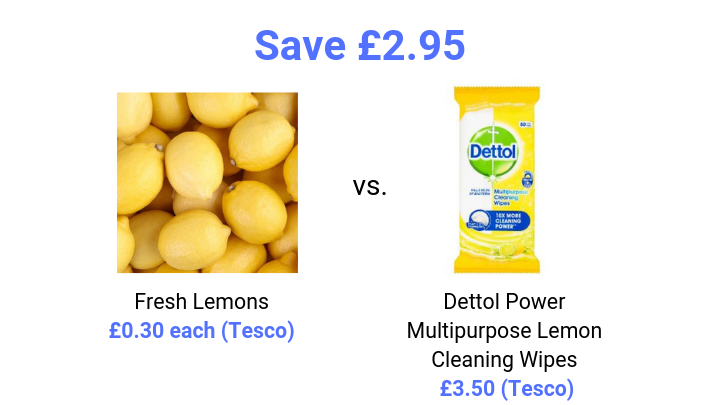price comparison of fresh lemons and flash cleaning wipes