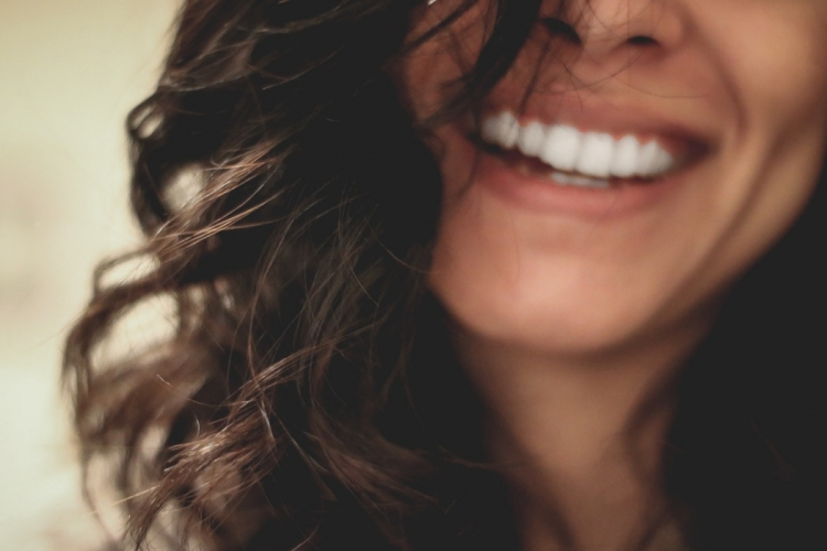 smiling woman long hair