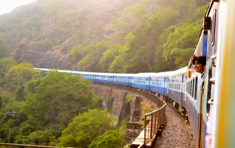 travel by train in countryside