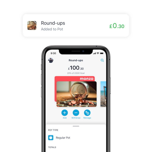 monzo round ups saving pot