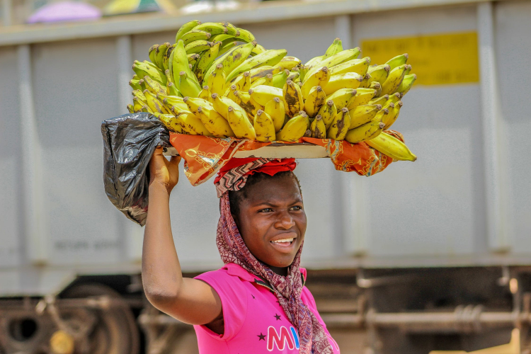 woman carrying bananas to market on her head